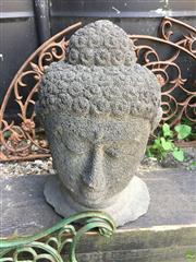 Sale 8601 - Lot 1445 - Lava Stone Buddha Bust (H: 42cm)