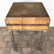 Sale 8649R - Lot 40 - Butchers Block on Timber Stand (87 x 60 x 60cm)