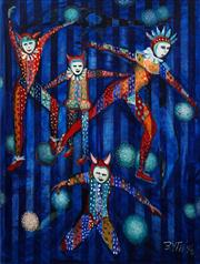Sale 8665A - Lot 5013 - Anna Byth - Circus Performers, 1996 89 x 67cm