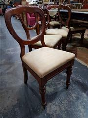 Sale 8728 - Lot 1014 - Large Set of 10 Victorian Mahogany Dining Chairs, with balloon backs, fabric drop-in seats & turned legs