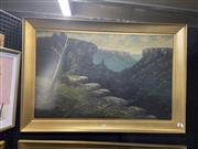 Sale 8924 - Lot 2039 - James Hutchings (1872 - 1962) - Blue Mountain Lookoutoil on board. 78 x 116cm, signed