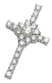 Sale 9037 - Lot 390 - A 14CT WHITE GOLD CRUCIFORM DIAMOND PENDANT; centring a round brilliant cut diamond of approx. 1.01ct, M/N - VVS surrounded by 13 ro...