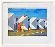 Sale 8349A - Lot 24 - Jeffrey Smart (1921 - 2013) - Study For The Cleaners, 2004 40.5 x 54.5cm