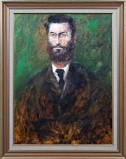 Sale 8415 - Lot 564 - Hugh Sawrey (1919 -1999) - Portrait of Ned Kelly 99 x 74cm