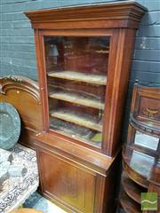 Sale 8485 - Lot 1095 - Victorian Mahogany Bookcase, with single glass panel door & carved door below (Key In Office)