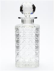 Sale 8599A - Lot 5 - A traditional antique hand cut lead crystal whiskey decanter,  the square body cut in a hobnail pattern c. 1900, H 22cm