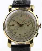 Sale 8655J - Lot 61 - A VINTAGE LEONIDAS SWISS CHRONOGRAPH WRISTWATCH; matte dial, 2 registers, tachymeter, telemeter track, 17 jewell Landau cal. 48 manu...