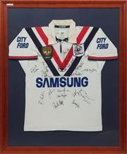 Sale 8677 - Lot 34 - 1998 Roosters Framed & Signed Jersey