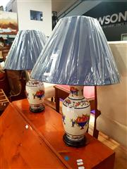 Sale 8676 - Lot 1072 - Pair of Classical Style Table Lamps with Fruit Bowl Motifs