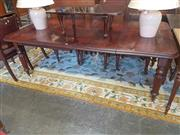 Sale 8728 - Lot 1097 - Victorian Mahogany Extension Dining Table, with two leaves, raised on turned reeded legs