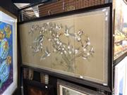 Sale 8759 - Lot 2036 - Chinese School - Birds in the Cherry Blossom Tree, gouche on silk 63 x 124cm (frame) . -