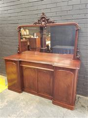 Sale 9048 - Lot 1073 - Victorian Mahogany Breakfront Sideboard, with carved mirror back, long drawer & four panel doors,  (key in office -  h:90 x w:182 x...