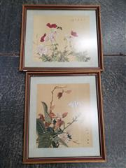 Sale 9087 - Lot 2043 - Pair of Chinese Gouache Paintings on Silk together with a Landscape on Oil & a French Engraving of the Nepean River (4) -