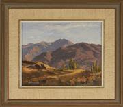 Sale 9091 - Lot 2021 - Allan Waite (1924 - 2010) Golden Autumn, Arrow Ranges, New Zealand oil on canvas board, frame: 32 x 37cm, signed -