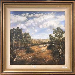 Sale 9103 - Lot 2008 - Raymond Reeves A Dry Summer (Pastoral Scene & Grazing Sheep) 1996 oil on board, 79 x 84cm, signed and dated