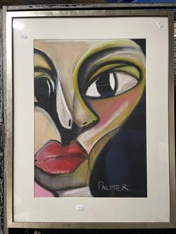 Sale 9113 - Lot 2022 - Artist Unknown (Palmer) (2 works) abstract portraits, frame size 88 x 68, each signed lower