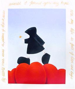 Sale 9249A - Lot 5073 - MACKENZIE THORPE (1956 - ) Walking on Love serigraph, ed. 18/65 73 x 59 cm (frame: 91 x 79 cm) signed lower right