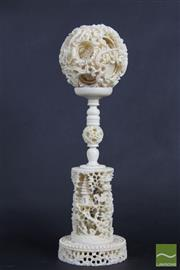 Sale 8508 - Lot 52 - Chinese Carved Ivory Puzzle ball on Stand (damage to ball a/f)
