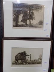Sale 8557 - Lot 2004 - James Squire Morgan (1886 - 1974) (2 works)  Landscape Near Scone; A Hawkesbury Corn Barn etchings, ed. 65/78;33/50, 19 x 26cm; 15...