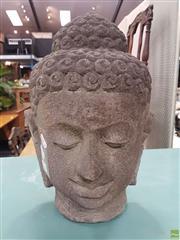 Sale 8601 - Lot 1335 - Lava Stone Buddha Bust (H: 42cm)