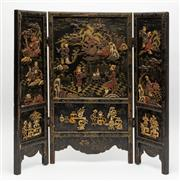 Sale 8770 - Lot 48 - A Chinese hardstone and bone inlaid lacquer three fold table-screen Qing Dynasty, 19th Century, H x 50cm, W x 56cm