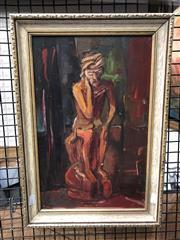 Sale 8784 - Lot 2030 - Artist Unknown Portrait of an Elder acrylic on board, signed Nina lower left