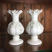 Sale 8795K - Lot 236 - A pair of Belleek garlic stemmed vases