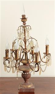 Sale 8871H - Lot 163 - A Pair of electric table chandeliers with crystal drops