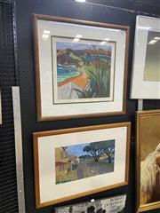 Sale 8995 - Lot 2020 - Tom Burnett (2 works) Camping at Matai; Mangonui Wharf screenprints,  65 x 68cm; 53 x 74cm (frames)