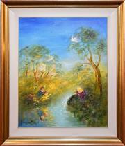 Sale 9015J - Lot 6 - David Boyd - Playing by the Stream 75x60cm