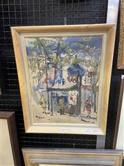 Sale 9041 - Lot 2019 - Artist Unknown, Street Scene and Kiosk, oil on canvas board, frame: 46 x 37cm, signed lower left -