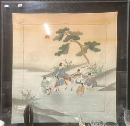 Sale 9111 - Lot 2098 - Silk stitching of warriors in Perspex frame, dated Hong Kong jockey club 1988