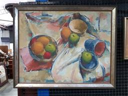 Sale 9127 - Lot 2001 - Robert S. Liddicoat Still Life: Apples, Oranges and Table Cloth oil on canvas on board 66 x 82cm, signed lower right