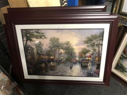 Sale 9147 - Lot 2040 - Five offset lithographs by Thomas Kinkade, frame: 88 x 118 cm (3) 92 x 133 cm & 67 x 78 cm (A.F) -