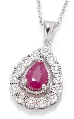 Sale 9169 - Lot 328 - A SILVER RUBY AND DIAMOND PENDANT NECKLACE; drop shape pendant centring a pear cut ruby of approx. 0.90ct to surround of 14 illusion...