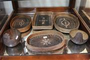 Sale 8304 - Lot 93 - Inlaid Booker Baskets with Carved Coconut Shells (4)