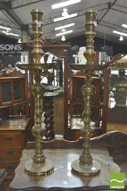 Sale 8341 - Lot 1010 - Pair of Brass Candle Sticks (H 90cm)