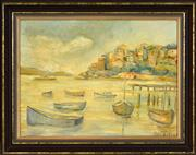 Sale 8443A - Lot 5050 - Attributed Robert Richmond Campbell (1902 - 1972) - Moored Boats, Neutral Bay, Sydney Harbour 32.5 x 44cm