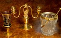 Sale 8392H - Lot 75 - A gilded old Sheffield plate candelabrum by Hecworth together with a glass and brass icebucket and an amethyst glass and gilt goblet...