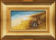 Sale 8587 - Lot 2079 - Artist Unknown - Seashells on Beach, oil on panel, 26.5 x 37cm (frame)