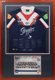 Sale 8677 - Lot 35 - 2010 Roosters Framed & Signed Jersey Grand Final Team