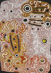 Sale 8718 - Lot 544 - Rosie Murnku Marnku Napurrurla Tasman (c1935 - ) - Witchety Grub Dreaming, 1996 acrylic on canvas