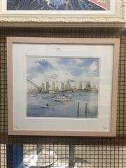 Sale 8751 - Lot 2056 - Leslie Kiernan - Sydney Harbour watercolour, 57.5 x 64cm, signed lower left