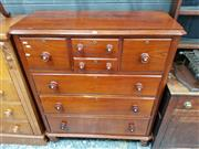 Sale 8814 - Lot 1027 - Late 19th Century Cedar Chest of Six Drawers, the centre drawer a faux double drawer & raised on turned legs