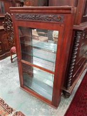 Sale 8939 - Lot 1080 - Edwardian Carved Timber Shallow Shop Display Cabinet, with glass shelves (mirror back & two shelves broken) H: 142 x W: 84 x D: 18 cm