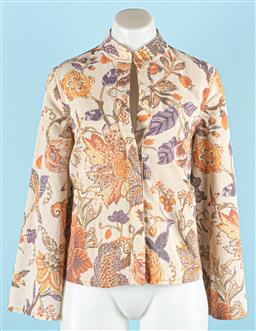 Sale 9091F - Lot 34 - A KAREN WALKER EDWARDIAN FLORAL JACKET; having two side pockets sleeves, concealed buttons, polyester and linen, size US2 UK6 new tags