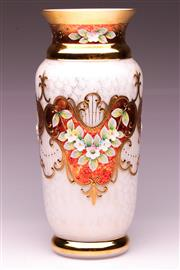 Sale 9081 - Lot 95 - A Bohemian Cream Glass Cylindrical Vase With Gilt and Floral Decorations (H:28.5cm)