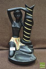 Sale 8338 - Lot 1060 - Barsony Black Lady Stem Vase / Ashtray (FL-39, some repair)