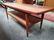 Sale 8476 - Lot 1040 - Teak Coffee table with Rattan Shelf Below