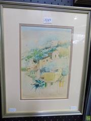 Sale 8563T - Lot 2096 - Helen Goldsmith - Terraces Mallorca 26 x 17.5cm